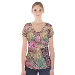 Texture Background Spring Colorful Short Sleeve Front Detail Top