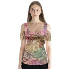 Texture Background Spring Colorful Butterfly Sleeve Cutout Tee