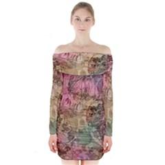 Texture Background Spring Colorful Long Sleeve Off Shoulder Dress