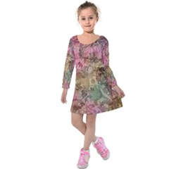 Texture Background Spring Colorful Kids  Long Sleeve Velvet Dress