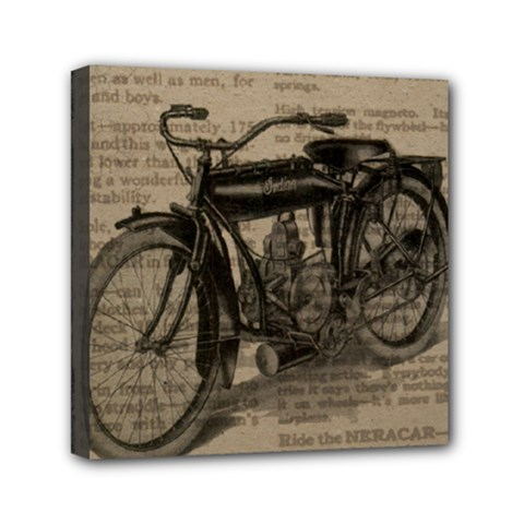 Vintage Collage Motorcycle Indian Mini Canvas 6  X 6