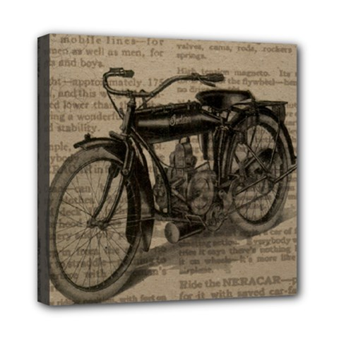 Vintage Collage Motorcycle Indian Mini Canvas 8  X 8