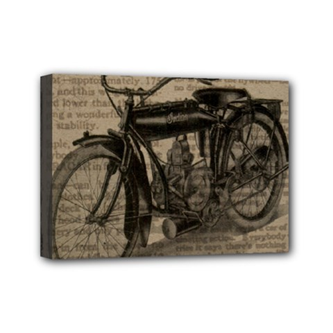 Vintage Collage Motorcycle Indian Mini Canvas 7  X 5