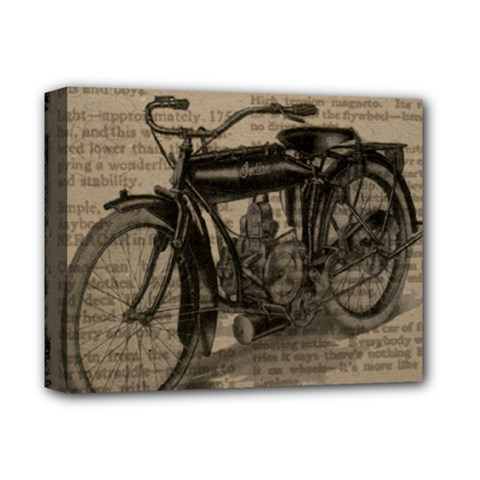 Vintage Collage Motorcycle Indian Deluxe Canvas 14  X 11