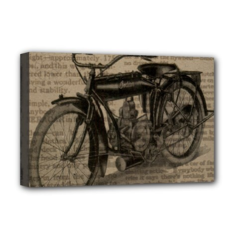 Vintage Collage Motorcycle Indian Deluxe Canvas 18  x 12