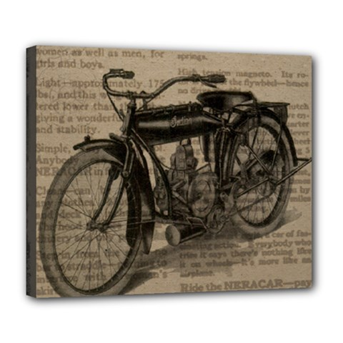 Vintage Collage Motorcycle Indian Deluxe Canvas 24  X 20