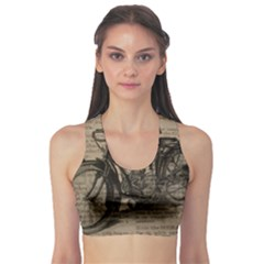 Vintage Collage Motorcycle Indian Sports Bra
