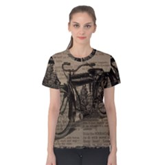 Vintage Collage Motorcycle Indian Women s Cotton Tee
