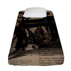 Vintage Collage Motorcycle Indian Fitted Sheet (single Size)