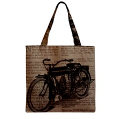 Vintage Collage Motorcycle Indian Zipper Grocery Tote Bag