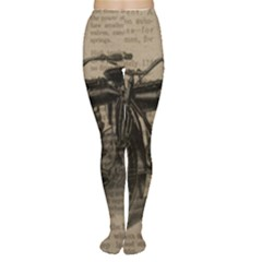 Vintage Collage Motorcycle Indian Women s Tights