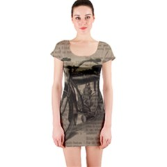 Vintage Collage Motorcycle Indian Short Sleeve Bodycon Dress