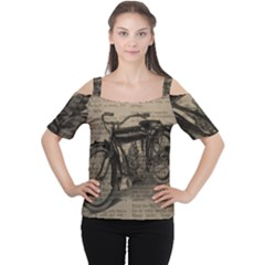 Vintage Collage Motorcycle Indian Women s Cutout Shoulder Tee