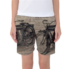 Vintage Collage Motorcycle Indian Women s Basketball Shorts