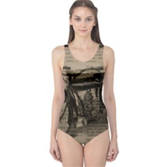 Vintage Collage Motorcycle Indian One Piece Swimsuit