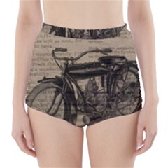 Vintage Collage Motorcycle Indian High Waisted Bikini Bottoms