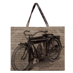 Vintage Collage Motorcycle Indian Zipper Large Tote Bag