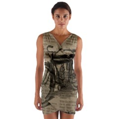Vintage Collage Motorcycle Indian Wrap Front Bodycon Dress
