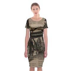 Vintage Collage Motorcycle Indian Classic Short Sleeve Midi Dress