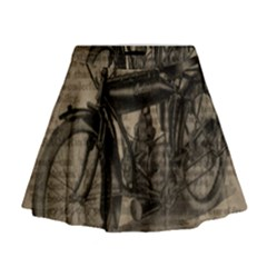 Vintage Collage Motorcycle Indian Mini Flare Skirt