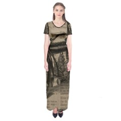 Vintage Collage Motorcycle Indian Short Sleeve Maxi Dress