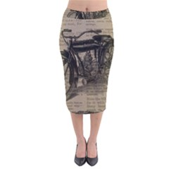 Vintage Collage Motorcycle Indian Velvet Midi Pencil Skirt