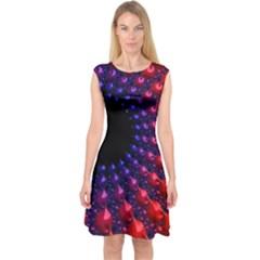 Fractal Mathematics Abstract Capsleeve Midi Dress