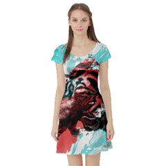 Wallpaper Background Watercolors Short Sleeve Skater Dress