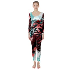 Wallpaper Background Watercolors Long Sleeve Catsuit
