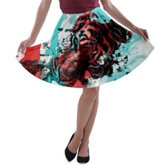 Wallpaper Background Watercolors A Line Skater Skirt