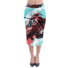 Wallpaper Background Watercolors Midi Pencil Skirt