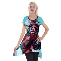 Wallpaper Background Watercolors Short Sleeve Side Drop Tunic