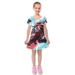 Wallpaper Background Watercolors Kids  Short Sleeve Velvet Dress