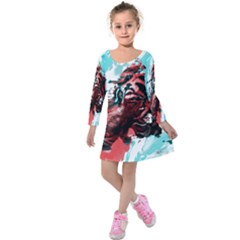 Wallpaper Background Watercolors Kids  Long Sleeve Velvet Dress