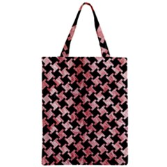 Houndstooth2 Black Marble & Red & White Marble Zipper Classic Tote Bag
