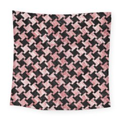 Houndstooth2 Black Marble & Red & White Marble Square Tapestry (large)
