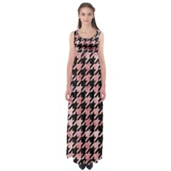 Houndstooth1 Black Marble & Red & White Marble Empire Waist Maxi Dress