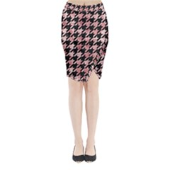 Houndstooth1 Black Marble & Red & White Marble Midi Wrap Pencil Skirt