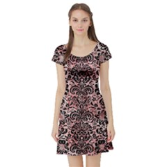 Damask2 Black Marble & Red & White Marble (r) Short Sleeve Skater Dress