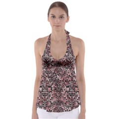 Damask2 Black Marble & Red & White Marble (r) Babydoll Tankini Top
