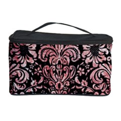 Damask2 Black Marble & Red & White Marble Cosmetic Storage Case