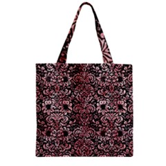 Damask2 Black Marble & Red & White Marble Zipper Grocery Tote Bag
