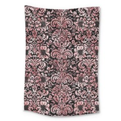 Damask2 Black Marble & Red & White Marble Large Tapestry