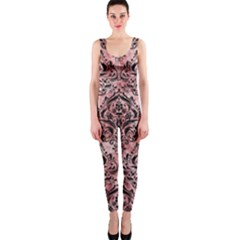 Damask1 Black Marble & Red & White Marble (r) Onepiece Catsuit