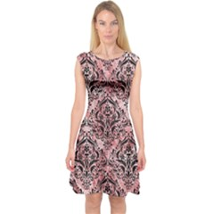 Damask1 Black Marble & Red & White Marble (r) Capsleeve Midi Dress
