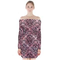 Damask1 Black Marble & Red & White Marble (r) Long Sleeve Off Shoulder Dress