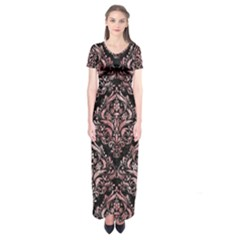 Damask1 Black Marble & Red & White Marble Short Sleeve Maxi Dress