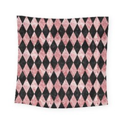 Diamond1 Black Marble & Red & White Marble Square Tapestry (small)