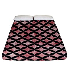 Circles3 Black Marble & Red & White Marble (r) Fitted Sheet (king Size)
