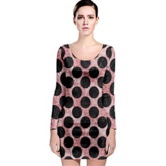 Circles2 Black Marble & Red & White Marble (r) Long Sleeve Bodycon Dress